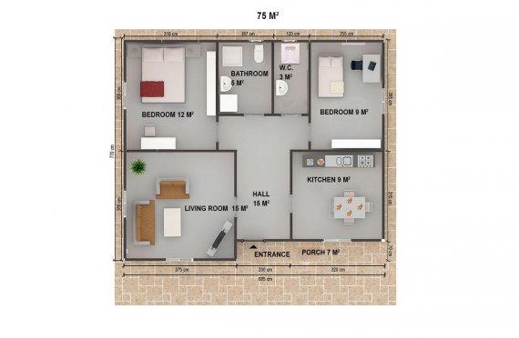 Vivienda Prefabricada de 75 m²
