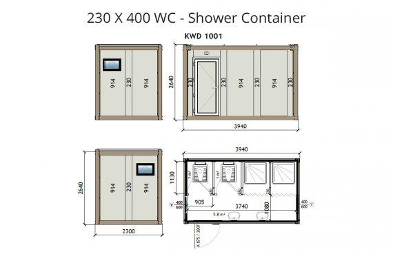 Contenedor Sanitario Ducha KW4 230X400