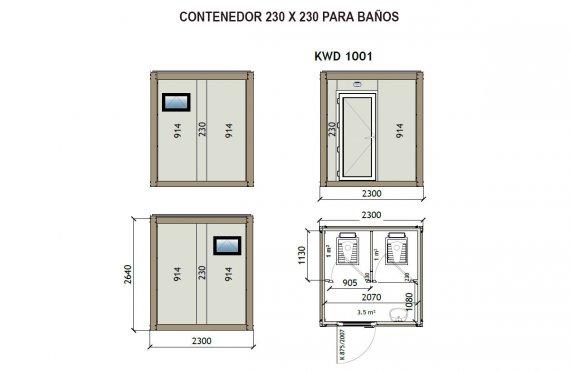 Contenedor Sanitario WC KW2 230X230