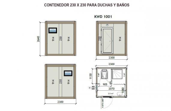 Contenedor Sanitario WC - Ducha KW2 230X230