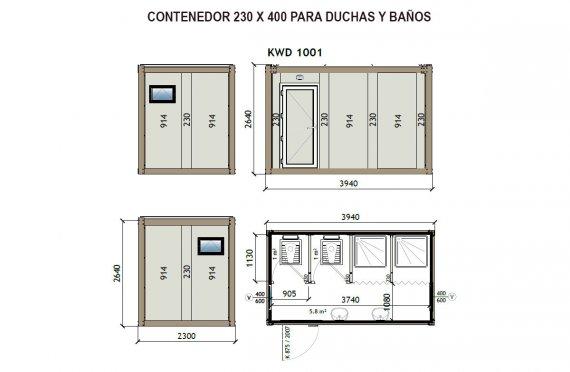 Contenedor Sanitario WC - Ducha KW4 230X400