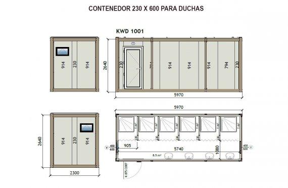 Contenedor Sanitario Ducha KW6 230X600