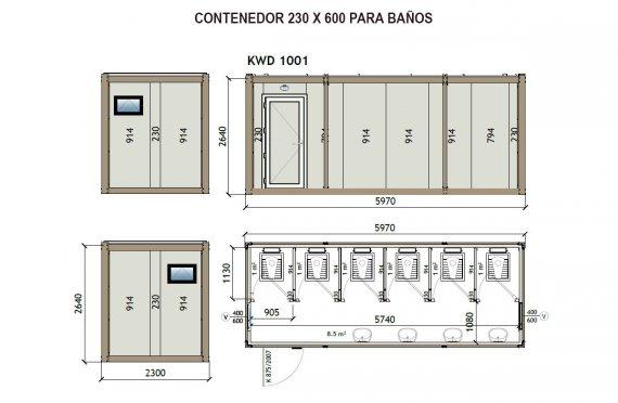 Contenedor Sanitario WC KW6 230X600
