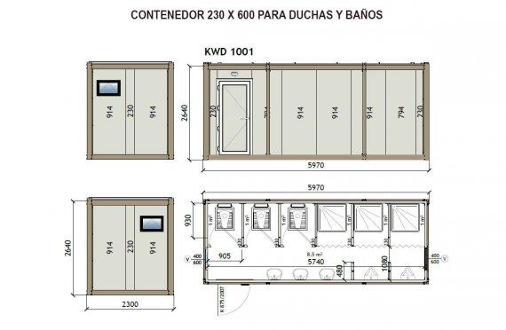 Contenedor Sanitario WC - Ducha KW6 230X600